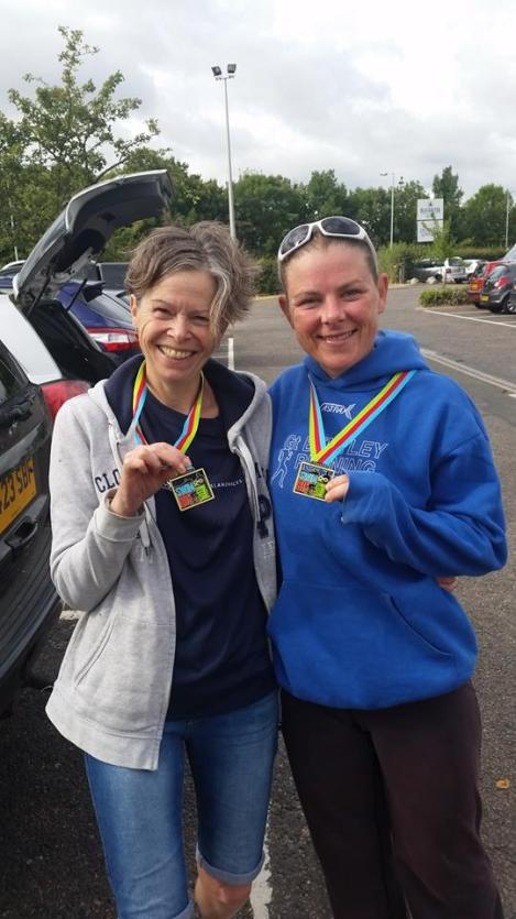 Alison and Lorna after finishing the Blackwater Charity Triathlon.