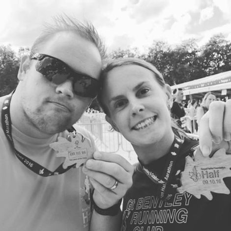 Luke and Claire Groves at the Royal Parks Foundation Half Marathon