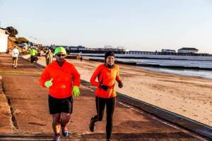 Jack Wicks and Alison Clarke at Clacton Seafront parkrun.