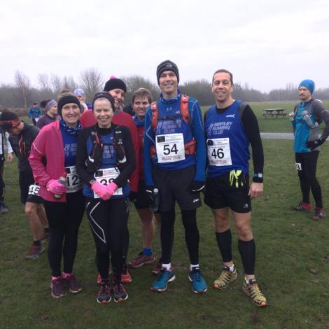 Bentley runners at the New Year's Day Flitch Way Marathon