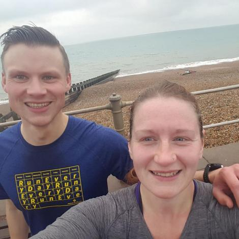 Matt and Liz Jones on Hastings Promenade after the parkrun