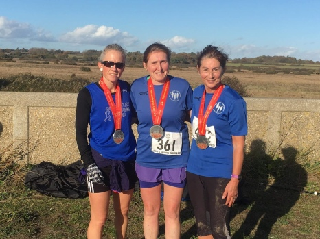 Gemma, Anthea and Toni running in Brightlingsea