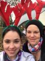 Emma and Zoe disguised as reindeers
